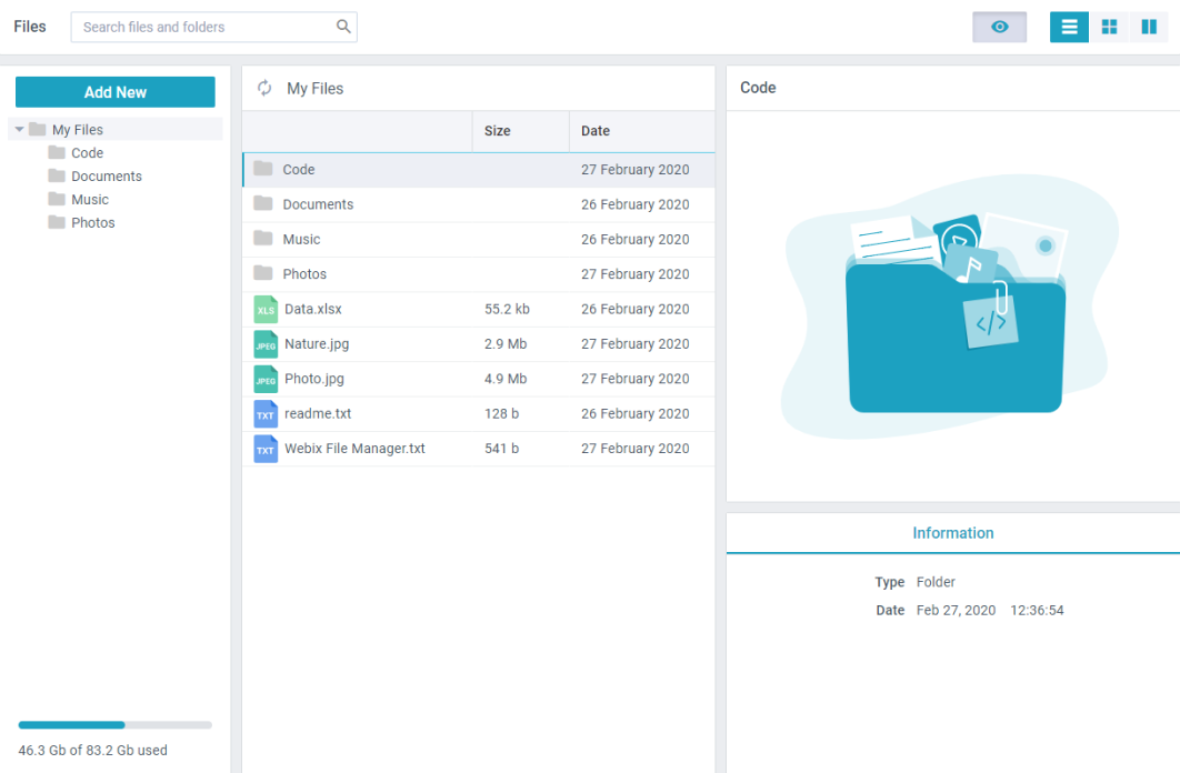 Filemanager widget